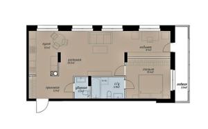 Планировка 2-комнатной квартиры в Аалто